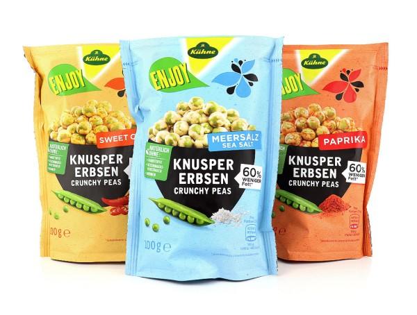ENJOY Knuspererbsen Probierpaket (Sweet Chili, Paprika & Meersalz)