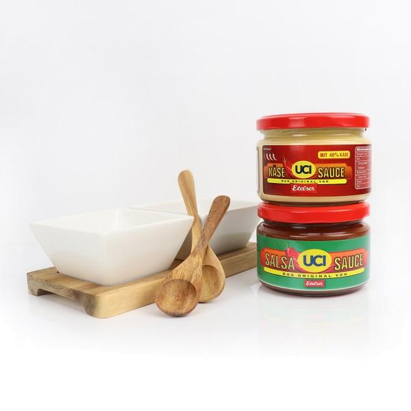 Geschenkset UCI Käse- & Salsasauce mit Dip-Schalen