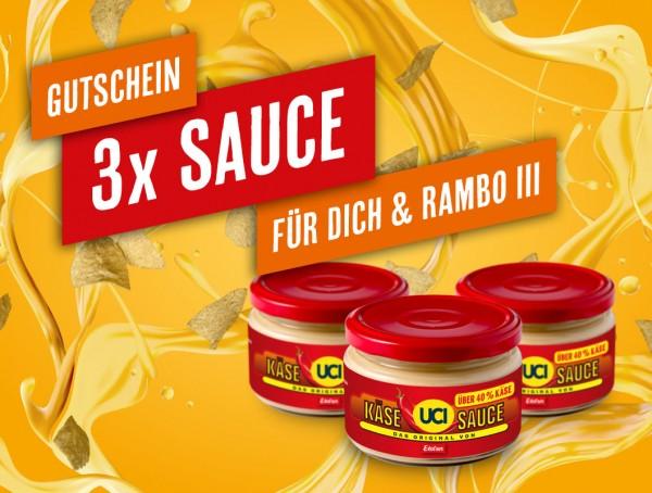 Gutschein Originale UCI-Käsesauce (3 Gläser) - Rambo III